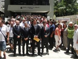 Ato em Defesa da Justiça do Trabalho e dos Direitos Sociais realizado em Florianópolis